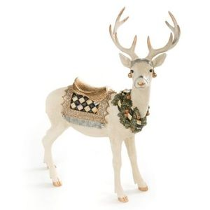 Mackenzie Childs winter white standing deer check